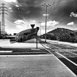 Tram station. Artistic look in black and white. Royalty Free Stock Images