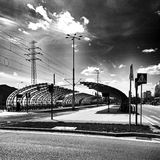 Tram station. Artistic look in black and white. Stock Photos
