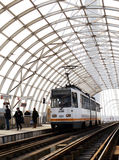 Tram at station in Basarab Overpass, Bucharest, Romania Royalty Free Stock Image
