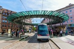 Tram station in the city of Strasbourg, France. Strasbourg, France - September 09, 2018: tram station in the city of Strasbourg with unidentified people stock photography