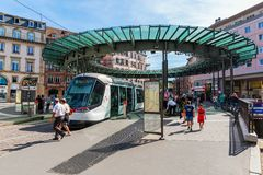 Tram station in the city of Strasbourg, France. Strasbourg, France - September 09, 2018: tram station in the city of Strasbourg with unidentified people stock images