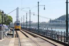Tram in the station at danube budapest royalty free stock images