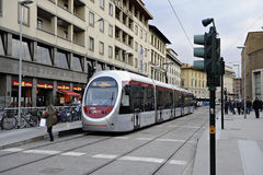 Tram at a station. Florence, Tuscany, Italy royalty free stock photos