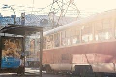 Tram station in Kiev, in Podil, Ukraine Royalty Free Stock Images
