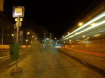 Tram station at night Stock Photo