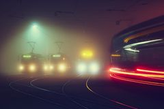 Tram station at the night Royalty Free Stock Photos