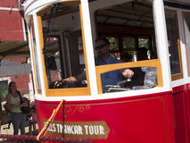 Tram in the steep streets of Lisbon Portugal. Lisbon is one of the oldest cities in the world, and the oldest in Western Europe. Ruled by a series of Germanic royalty free stock photo