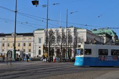 Tram at the Stock Exchange Stock Photo