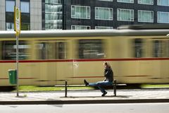 At a tram stop Stock Image