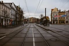 Tram stop Royalty Free Stock Images