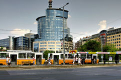 Tram at stop, Budapest, Hungary Stock Images