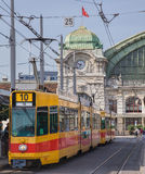 Tram at the stop on Centralbahnplatz square in Basel Royalty Free Stock Photos