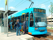 Tram at a stop Stock Image