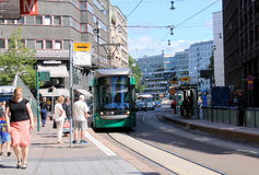 TRAM STOP IN THE HELSINKI CITY. 10.07.2014 Royalty Free Stock Image