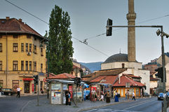 Tram stop at Muslihudin Cekrekcija Mosque, Sarajevo, Bosnia Herzegovina Royalty Free Stock Photo