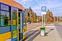 Tram stop Pilzen stock images