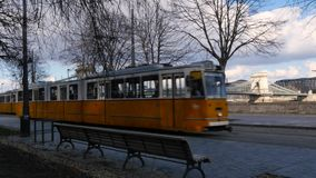 Tram stop view and Liberty Bridge, Budapest stock video footage