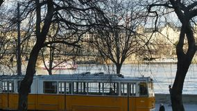 Tram stop view and River Cruise on Danube, Budapest stock footage