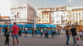 Tram stop in Zagreb stock video