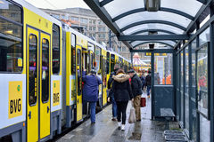 Tram stopped at Alexanderplatz in Berlin Royalty Free Stock Photography