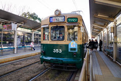 A tram stopping at the station in Hiroshima, Japan Royalty Free Stock Photos