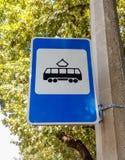 Tram-Stoppschild Lizenzfreies Stockbild