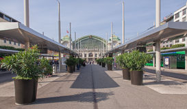 Tram stops on Centralbahnplatz square in Basel Royalty Free Stock Photography