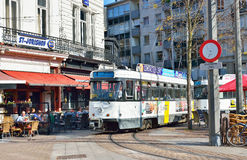 Tram stops on Leopold Square in Antwerp. ANTWERP, BELGIUM-OCTOBER 04, 2014: Tram stops on Leopold Square. With events of commemoration World War I the city Royalty Free Stock Image