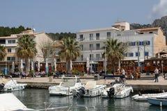 Tram storico sul boulevard di Port de Soller, Maiorca, Spagna Fotografia Stock Libera da Diritti