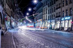 Tram on street Royalty Free Stock Images