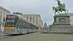 A tram on the street in Brussels stock footage