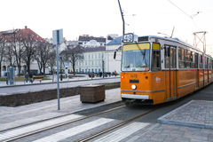 Tram on a street in Budapest Royalty Free Stock Image