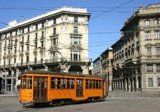 Tram in the street cities Royalty Free Stock Photography