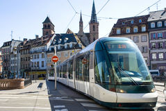 Tram in the street the cities of Strasbourg Stock Image