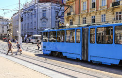 Tram on the street of the city of Zagreb, Croatia. Royalty Free Stock Photography