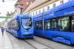Tram on the street of the city of Zagreb, Croatia. Royalty Free Stock Images