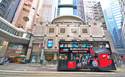 Tram in the street of Hong Kong Royalty Free Stock Image