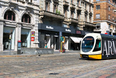 Tram in the street if Milan Royalty Free Stock Photography
