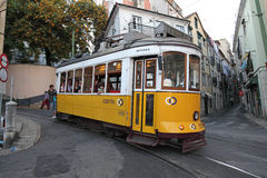 Tram in the street of Lisbon Stock Photography