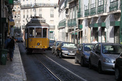 Tram in the street of Lisbon Royalty Free Stock Photos