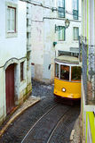 Tram 28 on the street in Lisbon, Stock Images