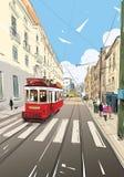 Tram in the street of Lisbon. Portugal. Europe. Hand drawn vector illustration. Tram in the street of Lisbon. Portugal. Europe. Hand drawn sketch vector stock illustration
