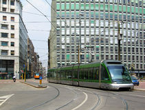 Tram on the street of Milan Stock Image