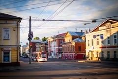 Tram in the street stock photo