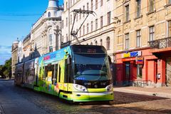 Tram in street of Riga Latvia. Riga, Latvia - September 1, 2018: Tram in the street of Riga in Latvia royalty free stock photo