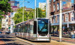Tram on a street of Rotterdam Royalty Free Stock Photography