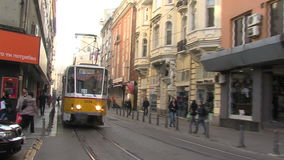 Tram on a street in Sofia, Bulgaria, winter stock video