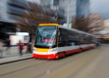 tram on the street under blurred motion Royalty Free Stock Photos