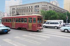 Tram on the streets of Dalian in China Royalty Free Stock Photos