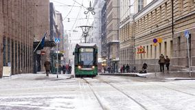 Tram on the streets of Helsinki Stock Photo